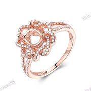 Fine Vantage Ring Natural Si Diamonds Solid 18k Rose Gold Semi Mount 7x5mm Oval