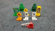 Lot Of 9 Fisher Price Geotrax Accessories Trees Signs Stop Rail Road Euc