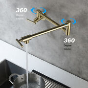 Wall Mount Brushed Gold Pot Filler Kitchen Faucet Single Hole Double Handles Tap