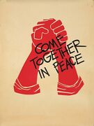 Original Vintage Poster Anti-vietnam Come Together In Peace Risd 1968