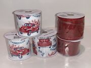 Wire Edge Burlap Red Pickup Truck Farmhouse And Solid Red Crafting Ribbon 5 Rolls