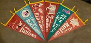 Vintage 1950and039s Complete Set Very Rare Original 6 Pennant Nhl Hockey