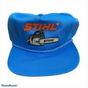Vintage 90s Stihl Chainsaw Trucker Hat Blue Menandrsquos Patch Letters Snap Back Otto