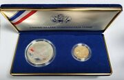 1987-w Us Constitution Proof Set - Silver 1 Dollar And 5 Dollar Gold Coins