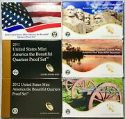 2010-2015 U. S. Mint America The Beautiful Quarters Proof 6 Sets Mint Packscoas