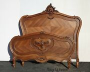 Antique French Louis Xvi Rococo Ornate Full Bed Frame Full Headboard