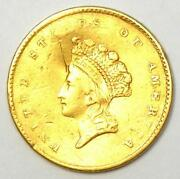 1854 Type 2 Indian Gold Dollar G1 Coin - Au Details Damage - Rare Type Two