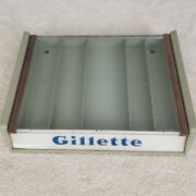 Vintage 1950and039s Glass Top Gillette Razor Store Display With 5 Razors