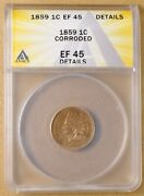 1859 Indian Head Penny Anacs Ef 45 Details
