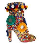 Dolce And Gabbana Red Leather Crystal Sequined Crystal Boots