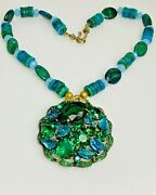 Trending Vintage Turquoise Necklace Weiss Crystal Cluster Brooch Pendant