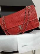 Chain Shoulder Bag 1829.55.5cm Red Punching Leather +guarantee Card
