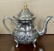 Vintage Handmade 4 Cup Moroccan Brass And Silver Plated Teapot On 4 Legs