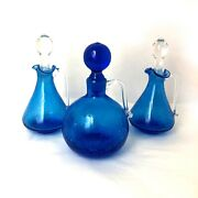 Vintage Hand Blown Art Glass Mcm Crackle Glass Cruet Set With Stoppers
