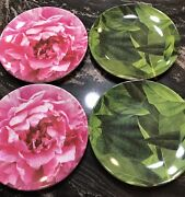 Kate Spade Outdoor 100 Melamine Set Of 4 Picnic Canapandeacutes Plates 6andrdquo Rose Leaf New
