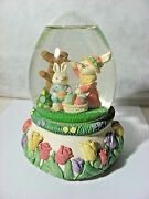 Easter Bunny Rabbits With Eggs Music Box Glitter Water Globe Plays Easter Parade