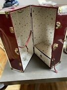 Vintage Red Maroon Metal 18 Doll Chest Steamer Trunk No Key