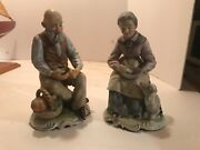 2 Antique Lipper And Mann Figurines Twin Leaf Mark Farmer And Wife