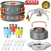 Outdoor Camping Cookware Cooking Set Picnic Hiking Kitchen Pots Gas Stove Burner