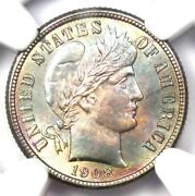1908-s Barber Dime 10c Coin - Certified Ngc Ms66+ Plus Grade - 4750 Value