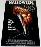 Jamie Lee Curtis And Nick Castle Signed 12x18 Halloween Movie Poster W/coa Proof