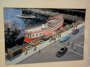 Vintage Signed Oil Painting City 70s Car And Boat Harbour Advertising Illustration