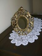 Antique Brass Vanity Or Dresser Mirror Or Frame Very Ornate With Shell On Top