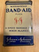 Vintage Waterproof Borated Band Aid Tin Can Montreal Canada W/j And J Logo