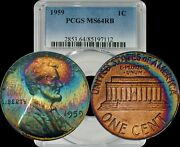 1959 Lincoln Memorial Cent Penny Pcgs Ms64rb Rainbow Color Toned Beauty