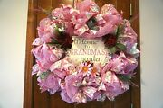 New Very Lg Pink Deco Mesh Wreath Perfect For Grandma For Her Birthday