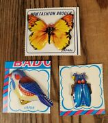 Vintage Nos Japan Litho Bird Butterfly Bug Pin Lot Gumball Prize Brooch 1h