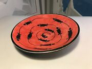 Rare Vintage African Kenya Hand Formed Etched Africa Red Soapstone Plate 12