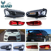 Vland Blackout Headlights And Red Tail Lights For Mitsubishi Lancer | Evo X 08-17