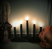 New Autumn Black Five-light/tier Candolier Window Candle With Flame Halos