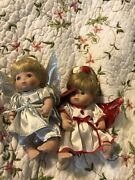 2 Vintage Classic Creations All Porcelain Angel Baby Dolls Blonde Haired Winged