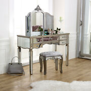 Large Mirrored Dressing Table Set Stool Mirror Vintage French Bedroom Furniture