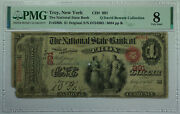 1865 1 Troy New York Ny National State Bank Ch 991 Fr. 380b Pmg Vg-8 Bowers