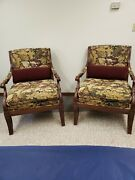 Ethan Allen Carved Living Room Arm Lounge Chair Excellent Upholstery Lot Of 2