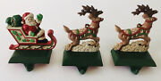 Midwest Santa In Sleigh And 2 Reindeer Christmas Stocking Hanger Holder Cast Iron