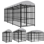 Outdoor Dog Kennel Steel Run House Covered Shade Shelter Yard Large With Roof
