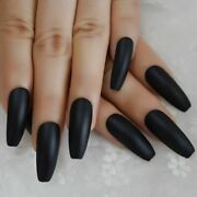 Black Frosted Matte Fake Nails Extra Long Coffin Press-on Nail Manicure Supplies