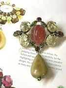 Signed Schreiner Book Pc Vntg Dangle Brooch Pin Bale Red Amber Glass Marbled Cab