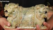10 Natural Old Jade Double Dragon Tiger Words Pillow Weeping Willow Statue
