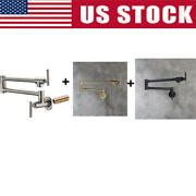 Brushed Nic/black/gold Pot Filler Faucet Wall Mount Kitchen Dual Joint Swing Arm