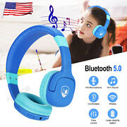 Kids Over Head Bluetooth Wireless Headset Noise Cancelling Stereo Mic Headphone