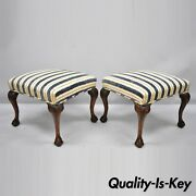 Pair Of Antique Mahogany Carved Ball And Claw Chippendale Foot Stools Benches