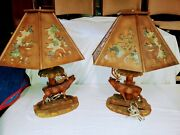 Pair Antique Black Forest Hand Carved Large Lamps Ca. 1940s Germany Rare