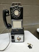 Auth Rare 1960's Automatic Electric Black Rotary Dial Pay Phone W/ 3 Coin Slot