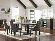 7 Pc Formal 10 Ft Trestle Dining Table Charcoal Grey Velvet Chairs Furniture Set