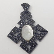 Judith Jack Sterling Silver 925 Marcasite Cameo Pendant Abalone Shell Vintage
